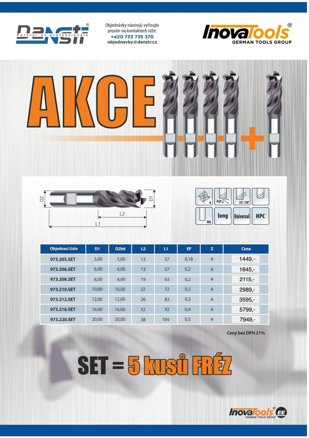 SET of carbide milling cutters - action flyer